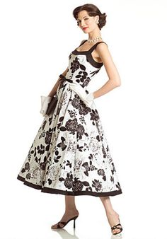 Vintage Dress: Lined dress, below mid-calf length, has fitted bodice, circular skirt, side zipper, inside belt and contrast band extending into shoulder straps. A: ribbon belt with purchased decorative pin. B: contrast hem band. FABRICS: Cotton Broadcloth, Linen, Dotted Swiss and Piqué.