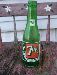 Vintage 7up Soda Bottle  Green Glass REDUCED PRICE by BloominWild, $8.00
