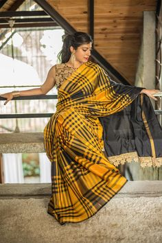 Light weight black and yellow checked uppada pure silk saree #saree #handloom #india #houseofblouse