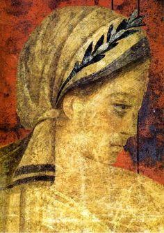 Pompeii, Italy. Etruscan girl fresco from Mystery Villa, c.50BCE