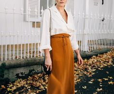 Cream Blouse + Mustard Yellow Skirt + Black Accesories for Fall