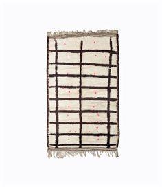 Fenster FRAME Teppich 6'x 4' marokkanischer Teppich. Boucharouette, Beni Ourain. Mitte Jahrhundert Modern. Schwarz weiß rosa
