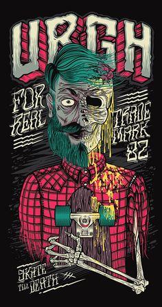 Skate Till Death Urgh Illustration artwork is done by Thiago Pacheco who is from São Paulo, Brazil. Art Patin, Digital Art Illustration, Schrift Tattoos, Skate Art, Inspiration Art, Till Death, Art Graphique, Skateboard Art, Art Design