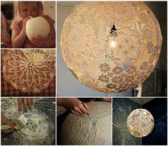DIY Doily Lamp diy diy crafts do it yourself lamp doily lamp