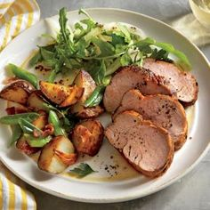 Spiced Pork Tenderloin with Roasted Potatoes and Green Onions | MyRecipes.com #myplate #protein #veggies