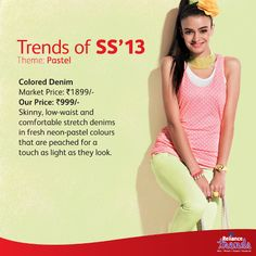 Reliance Trends' #SS13 Colored #Denims wih Sleeveless Tee  https://www.facebook.com/RelianceTrends