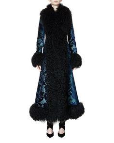 Long+Brocade+Coat+w/Shearling+Fur+Trim,+Petrol+Blue+by+Lanvin+at+Bergdorf+Goodman.