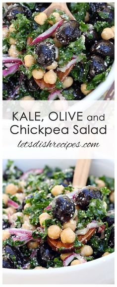 Kale Olive and Chickpea Salad Kale Olive and Chickpea Salad Recipe: Fresh kale olives and chickpeas are tossed with a light vinaigrette in this protein packed healthy salad. The post Kale Olive and Chickpea Salad appeared first on Rezepte. Chickpea Salad Recipes, Healthy Salad Recipes, Gourmet Recipes, Vegetarian Recipes, Recipes With Olives, Raw Veggie Recipes, Protein Veggie Meals, Chickpea Salad Sandwich, Fresh Salad Recipes