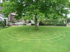 labyrinth that appears to be made out of a rope laid out out the ground.
