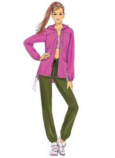 Lisette for Butterick athletic wear sewing pattern. B6386 Misses' Seamed Jacket with Hood and Drawstring Pants