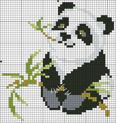 panda cross-stitch... no color chart available, just use pattern chart as your color guide.. or choose your own colors...