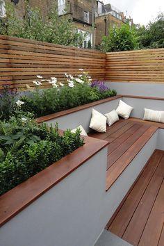 Terrace Garden Design, Back Garden Design, Small Backyard Design, Small Backyard Gardens, Backyard Patio Designs, Small Backyard Landscaping, Garden Seating, Backyard Ideas, Small Terrace