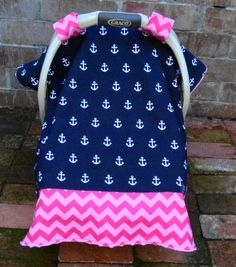 Anchors & Chevron Baby Car Seat Canopy Cover in Navy and Pink; Nautical Car Seat Cover; Red Minky Dimple Dot; Car Seat Tent Cover; Blanket by ChristyRaynDesigns on Etsy