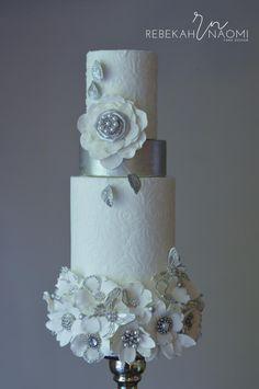White and Silver Bouquet Wedding Cake by Rebekah Naomi Cake Design - http://cakesdecor.com/cakes/214195-white-and-silver-bouquet-wedding-cake
