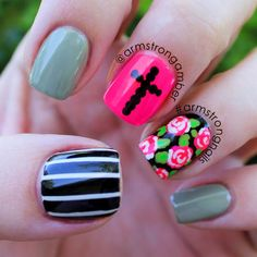 edgy rose and cross nail art - by Amber Armstrong -- Instagram@armstrongnails