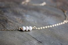 Itty Bitty Pearl Necklace.  Dainty Necklace. Delicate Necklace by SketchLines