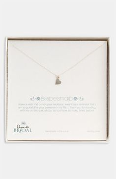Dogeared 'Bridesmaid - Heart' Pendant Necklace (Nordstrom Exclusive)   Nordstrom