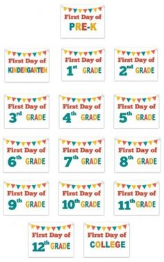 Free printable signs to use on the First Day of School for all grade-levels! #backtoschool