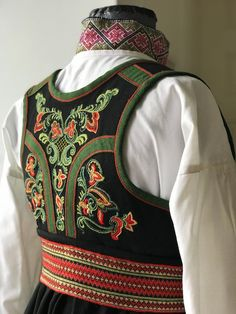 Folk Costume, Costumes, Hardanger Embroidery, Traditional Dresses, High Neck Dress, Textiles, Folklore, Norway, Scandinavian