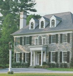 Beautiful Homes 2002 I have always had a love affair with stone houses. Beautiful Homes 2002 I have always had a love affair with stone houses. Renovation Style 2007 Source unknown I am no Stone Exterior Houses, Colonial Exterior, Old Stone Houses, Dream House Exterior, Exterior Design, Stone Home Exteriors, Georgian Architecture, Georgian Homes, Second Empire