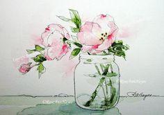 Acuarela pintura onagra rosa flores silvestres impresión flor Bouquet Floral