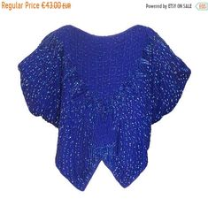 JULY SALE Azure Blue Butterfly Multicolor Beaded Silk Sequined Disco Party Occasion Spring Summer Top Blouse by HolyCatsVintage on Etsy Disco Party, Party Tops, Beaded Top, Blue Butterfly, Bat Wings, Red White Blue, Outfit Of The Day, Pure Products, Silk