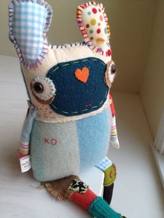 Eco Friendly Plush XO Lovie  Needlefelted by ValsArtStudio on Etsy, $95.00