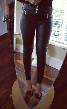Sheer Black Gold Zip Pants - Lady VB