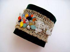 Leather Bracelet Wrist Cuff Leather Jewelry by CraftyMosaic, $18.00