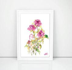 Garden Roses Original Watercolour Artwork Floral by SCSArtGallery