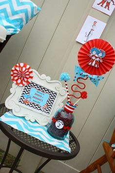 Dr. Seuss Thing 1 and Thing 2 1st Birthday Party for Twins - Twin - Red and Aqua Blue - Chevron & Polka Dots - Candy Sweets Dessert Table - Buffet - decor Ideas - decorations