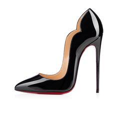 HOT CHICK PATENT,BLACK,Patent,Women Shoes,Louboutin.