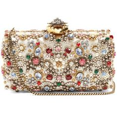 Alexander McQueen Heart-clasp satin embellished box clutch (11,255 PEN) ❤ liked on Polyvore featuring bags, handbags, clutches, clasp handbag, brown purse, beaded handbag, beaded clutches and hard clutch