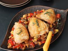 Roast Chicken with Ratatouille | Thyme, rosemary and cayenne flavor Andrew Zimmern's chicken before and during roasting. By roasting pieces rather than a whole bird, no carving is necessary.