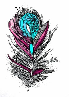 i love the colours and style of this feather drawing would make an amazing…
