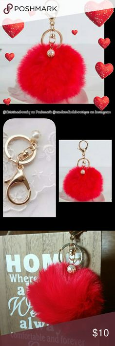 "Red faux fur pom pom keychain with pearl charm ⚪Size: fur ball approx 3 1/2"" and chain approx 2 3/4"" ⚪Metal: alloy (nickel and lead free) ⚪Material: faux rabbit fur  ⚪Color: red, gold  🔮PRICE is FIRM🔮unless you bundle   💜Bundle 2 items or more to save 10% 💜Shipping within 1-2 business days  💜All items are chosen with care and personally inspected by me to ensure great quality :)  ↪Follow us on Instagram @randomfindsboutique for new arrivals, updates and amazing sales!  🔮For more colors…"