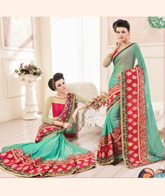 Buy Sea Green Chiffon Party Wear Saree 76227 with blouse online at lowest price from vast collection of sarees at Indianclothstore.com.