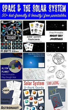 More than 50 (mostly) free Space and Solar System Printables for kids. Excellent printable resources for learning about the planets, the universe, the moon, constellations, and astronauts. || Gift of Curiosity