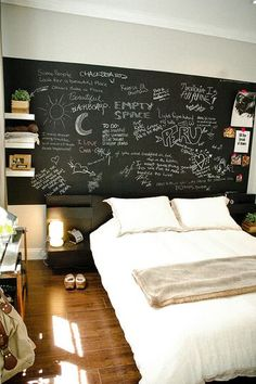 Small Space Style - not a fan of the blackboard wall but love the bed and those hanging shelves
