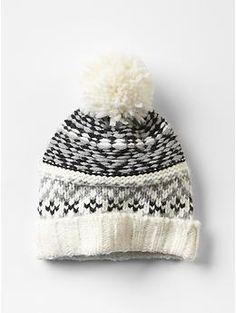 8377c67e44d01f fair isle wool pom-pon beanie Cute Beanies, Cute Hats, Cute Winter Hats