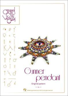 Pendant tutorial / pattern Gunner with swarovski rivoli..PDF instruction for personal use only. $13.00, via Etsy.