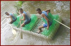 How cool...a boat made from recycling 2 liter bottles...as well as the vests~