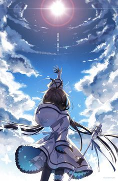 ✮ ANIME ART ✮ anime scenery. . .sky. . .clouds. . .sunlight. . .sparkling. . .in the breeze. . .anime girl. . .magical. . .fantasy. . .amazing detail. . .kawaii