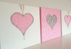 Set of 3 pink and white girls room handmade canvasses baby , Hearts Wall Art. Set of 3 pink and white girls room handmade canvasses A new design wall art @ FlorsShop. Hearts in pink & white. Have Fun! Valentine Decorations, Valentine Crafts, Valentines, Wall Art Sets, Diy Wall Art, Wall Décor, Wall Art Designs, Wall Design, White Girls Rooms