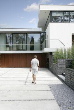 architectuur, stucwerk villa, hout