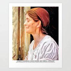 Luneda Commeaux, Cajun Singer, New Iberia, Louisiana ca 1940 Art Print Colorized History, New Iberia, Meet The Artist, Buy Frames, Louisiana, Singer, Art Prints, Art Impressions, Singers