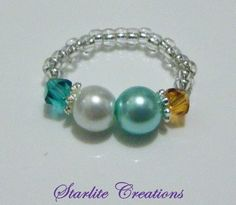 Toe ring - Blue Zircon Crystal ~ White Pearl ~ Turquoise Pearl ~ Topaz Crystal