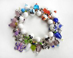 Butterfly & heart charm bracelet in white blues by MadMamaMiller - Valentine's Day