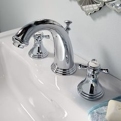 DXV Ashbee Widespread Bathroom Faucet with Cross Handles Room Scene- Polished Chrome