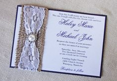 Elegant Wedding Invitation Rustic Burlap Vintage by LoveofCreating, $6.00